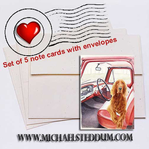 Not Without Me, Irish Setter Note Card Set