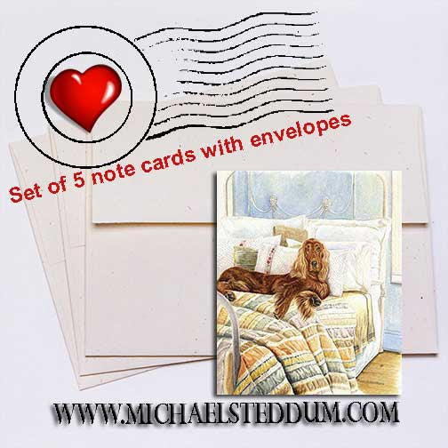 Sleeping In, Irish Setter Note Card Set