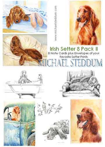 """Irish Setter 8 Pack II Note Card Set"""