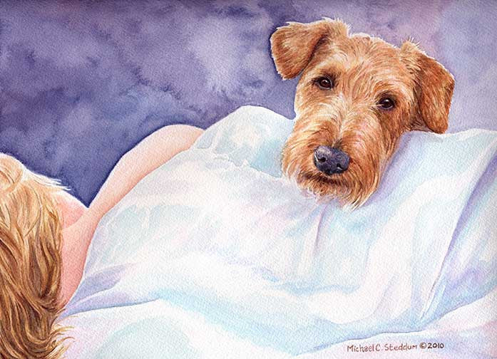 """Lucky Dog"" A Limited Edition Irish Terrier Print"
