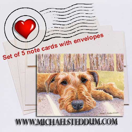 Watching & Waiting, Irish Terrier Note Card Set