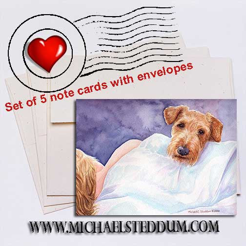 Irish Terrier Lucky Dog	, Note Card Set