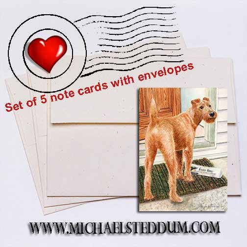 Paper Boy, Irish Terrier Note Card Set