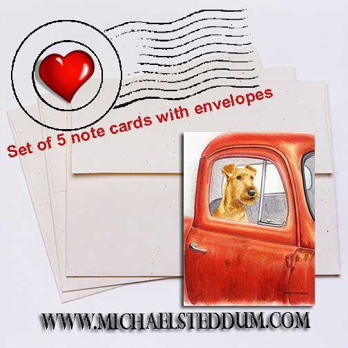 Sunday Drive, Irish Terrier Note Card Set