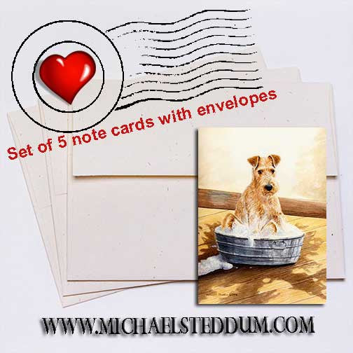 Saturday Night, Irish Terrier Note Card Set