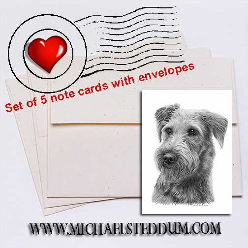 Irish Terrier Pencil	 Note Card Set