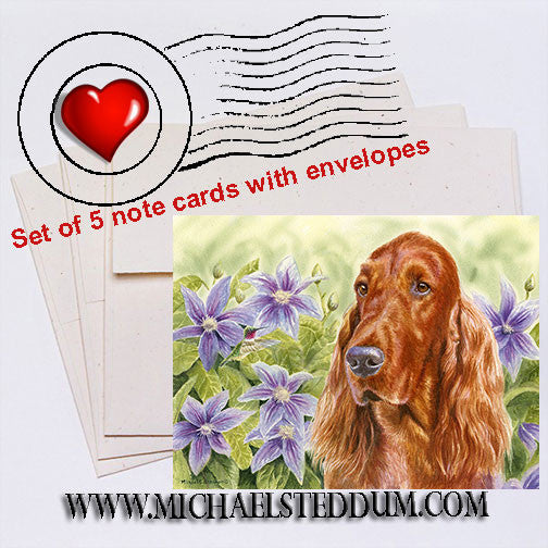 """Summer Garden"" Irish Setter Note Card Set"