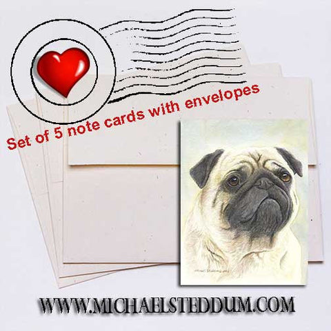 Pug Head Study Note Card Set