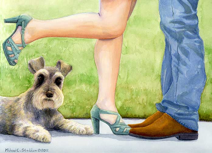 """Learning to Share"" A Limited Edition Schnauzer Print"
