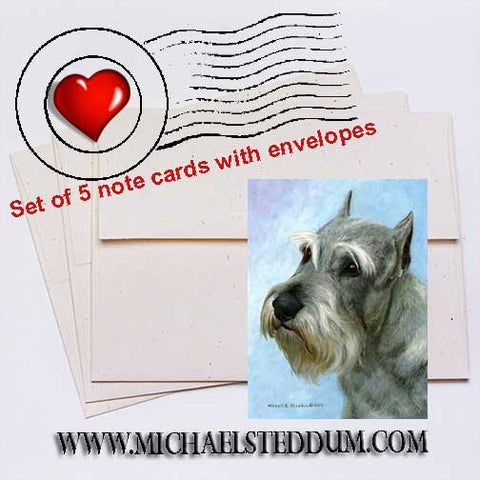Schnauzer Head Study II Note Card Set