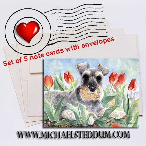 Schnauzer Tulips Note Card Set