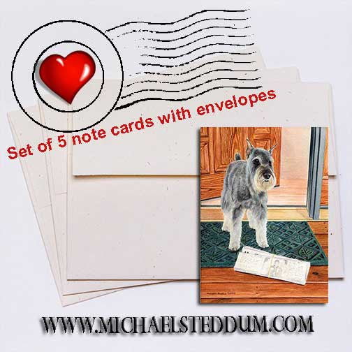 Schnauzer Paper Boy Note Card Set