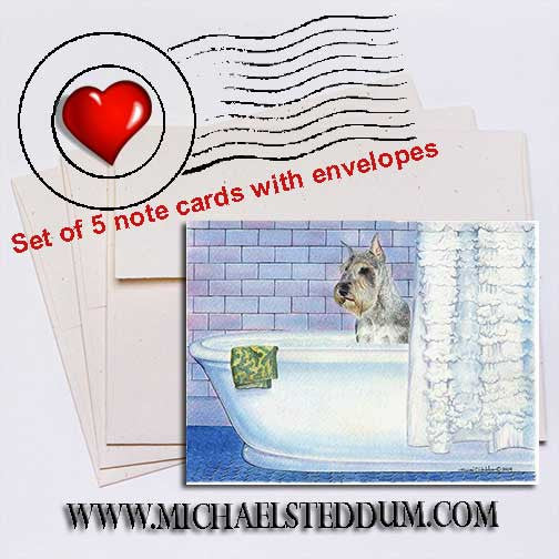 Schnauzer Bath Note Card Set