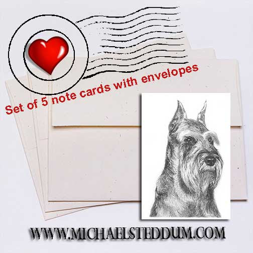 Schnauzer Pencil Note Card Set