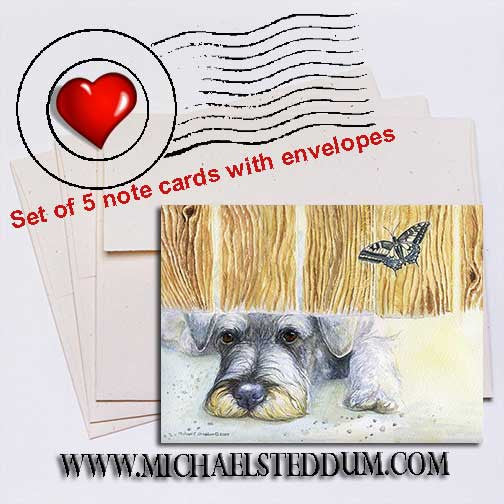 Schnauzer Get It Note Card Set