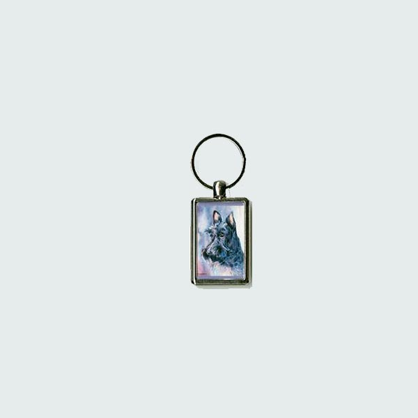 Scottish Terrier Head Study Watercolor  Key Chain