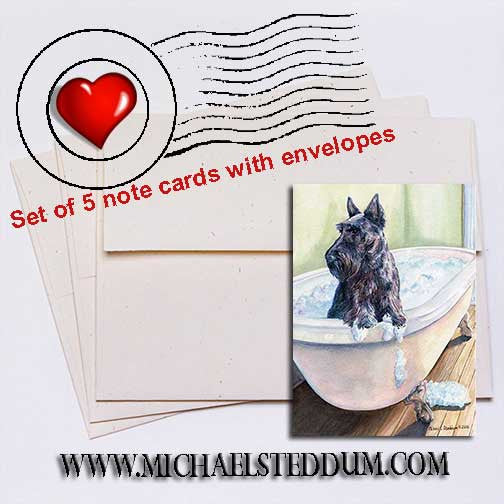 Scottie Bath Scottish Terrier Note Card Set