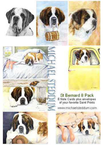 """Saint Bernard 8 Pack Note Card Set"""