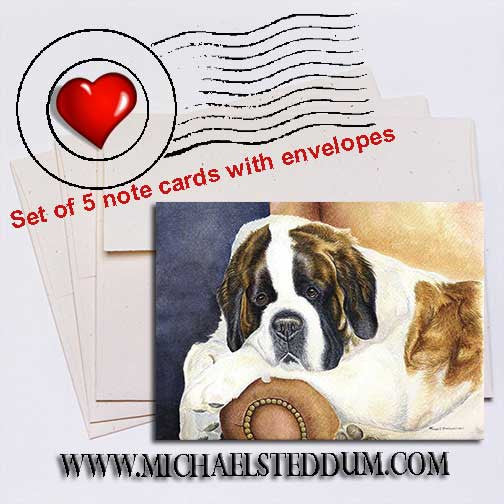Dad's Chair, Saint Bernard Note Card Set