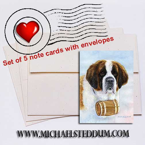 Saint Bernard Head Study III Note Card Set