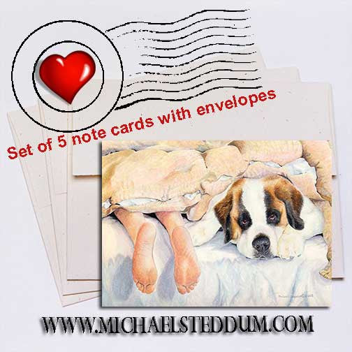 Heads or Tails, Saint Bernard Note Card Set