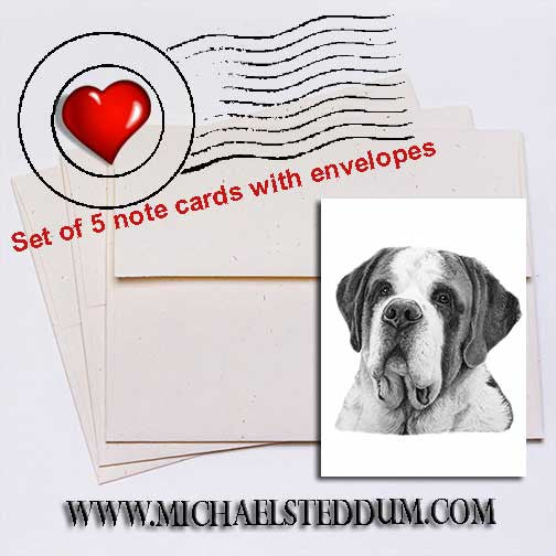 Saint Bernard Pencil Note Card Set