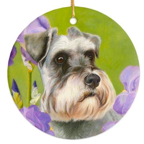 "Schnauzer ""Irises"" Christmas Ornament"