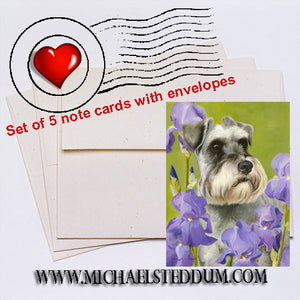 Schnauzer Irises Note Card Set