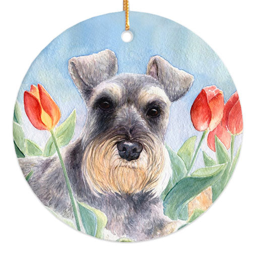 "Schnauzer ""Tulips"" Christmas Ornament"
