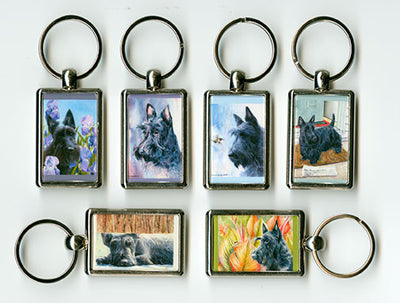 """Morning Chores"" Scottish Terrier Key Chain"