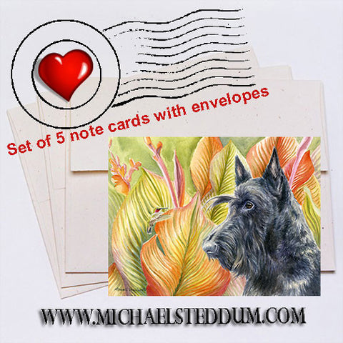 The Visitor, Scottish Terrier Note Card Set