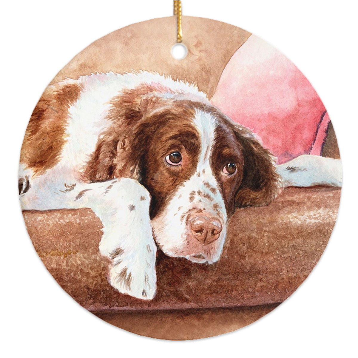 """Resting"" A Springer Spaniel Christmas Ornament"