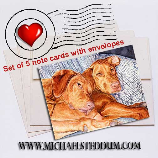Couch Potatoes Vizsla Note Card Set