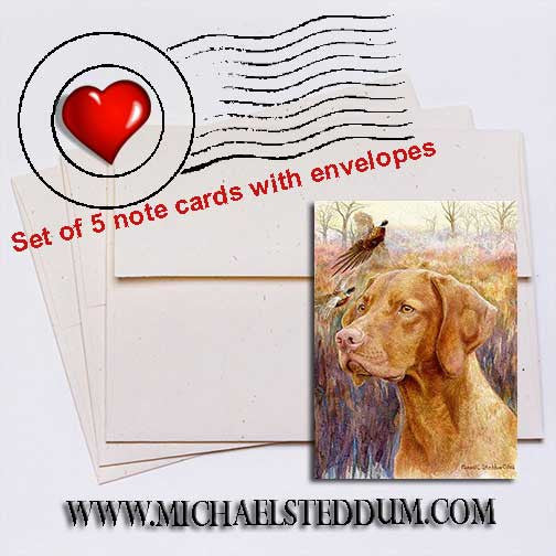 Vizsla Head Study IV Note Card Set