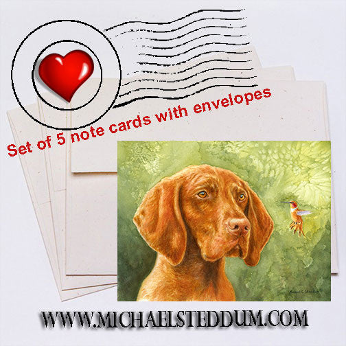 """Bird Dog"" Vizsla Note Card Set"