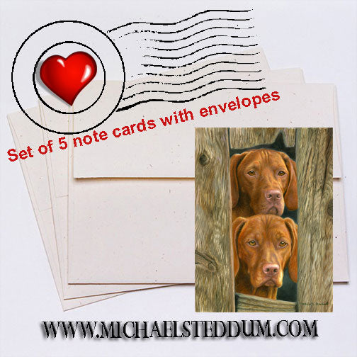 On Duty, Vizsla Note Card Set