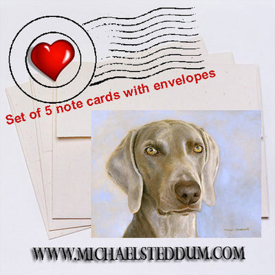 Weimaraner Head Study Note Card Set