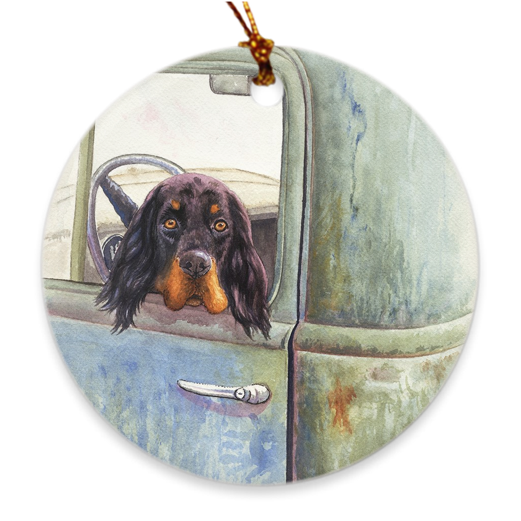 "Gordon Setter ""In a 55"" Christmas Ornament"
