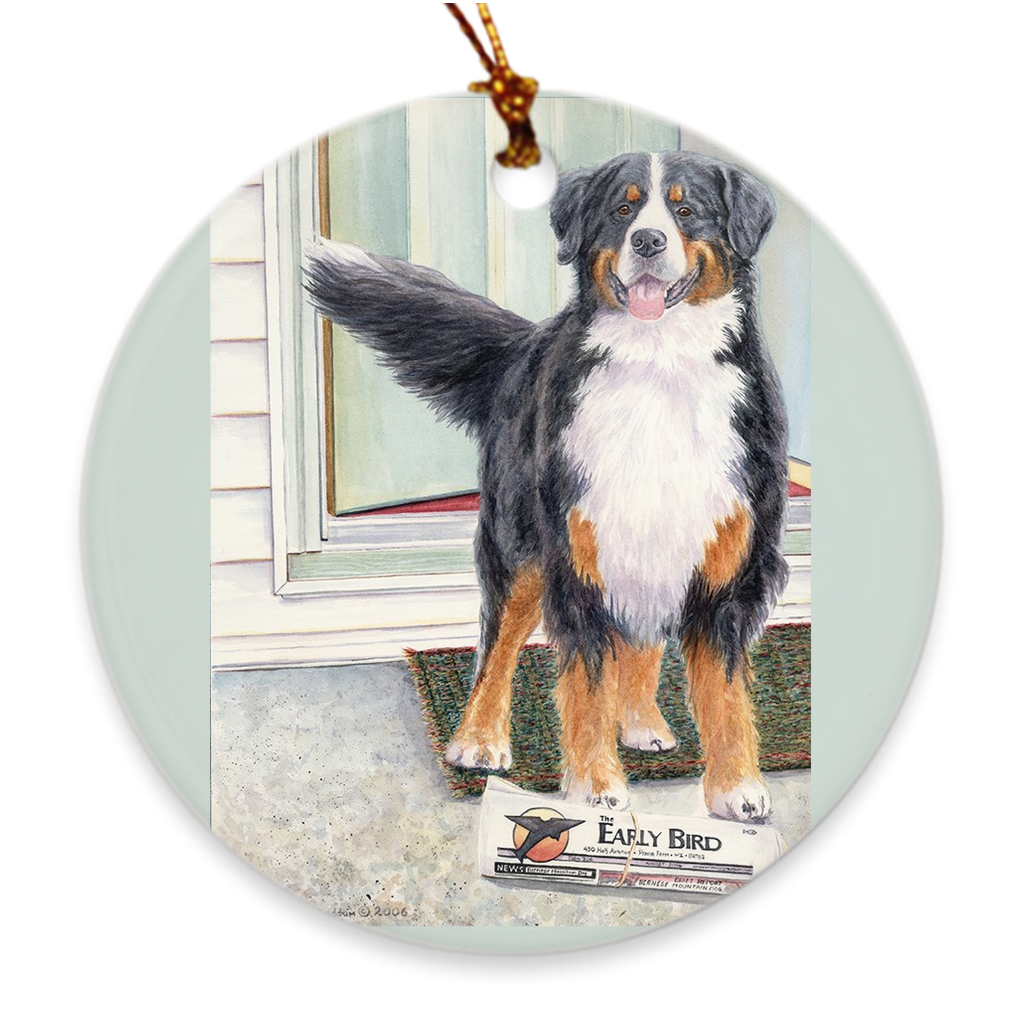 "Bernese Mountain Dog ""Paper Boy"" Christmas Ornament"