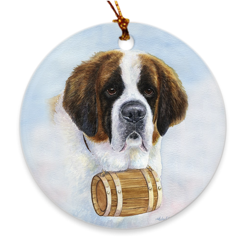 "Saint Bernard ""Head Study II"" Ornament"