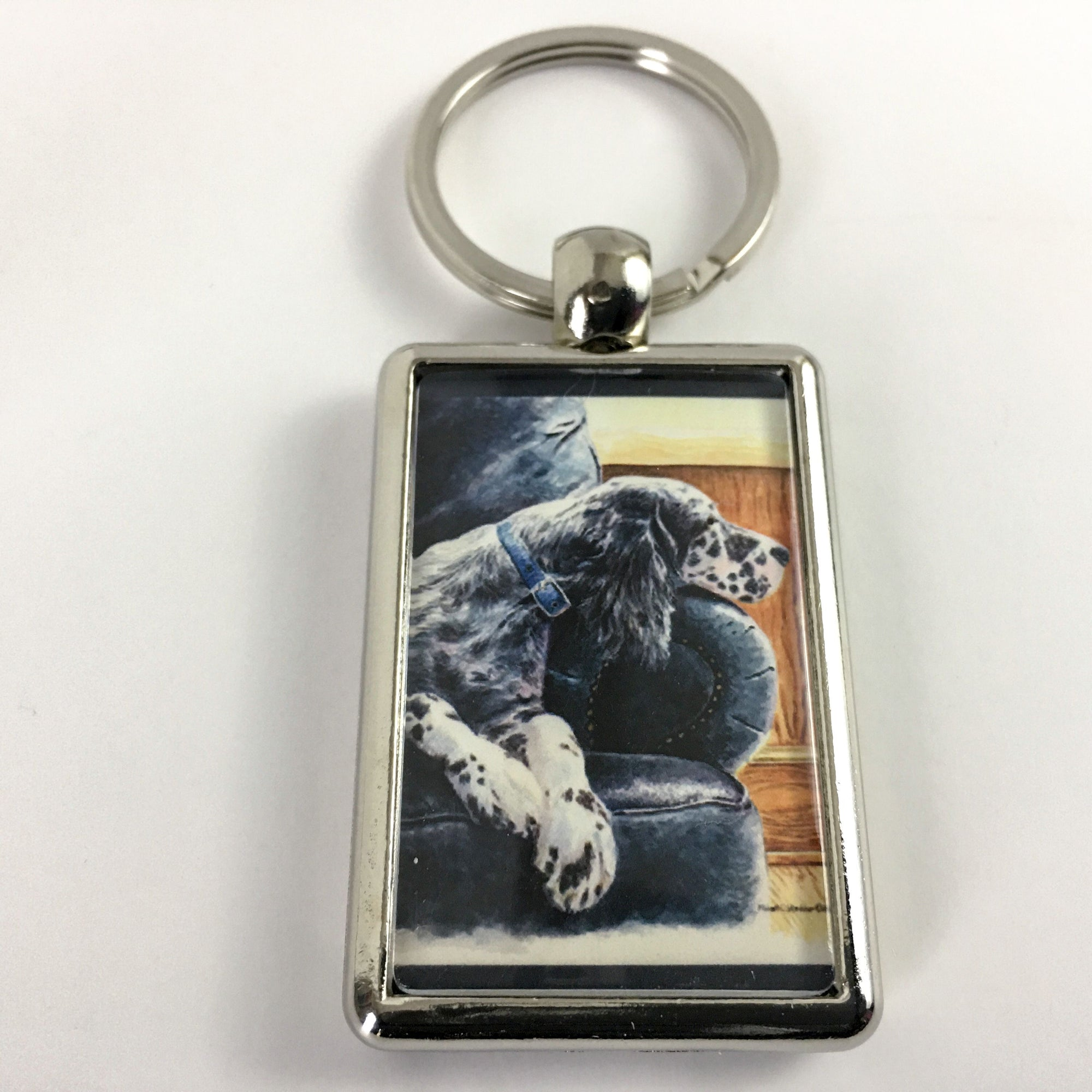 "English Setter ""Couch Potato"" Keychain"
