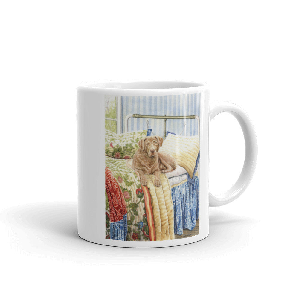 """On the Bed"" Chesapeake Bay Retriever 11oz Coffee Mug"