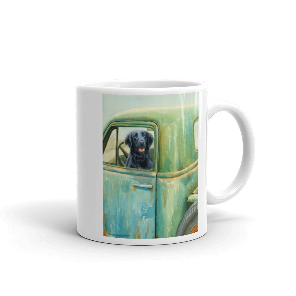 """Excursion"" Flat Coated Retriever 11oz Coffee Mug"