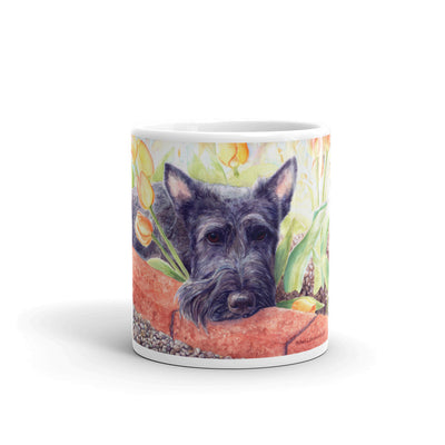 """Scottie Tulips"" Scottish Terrier 11oz Coffee Mug"