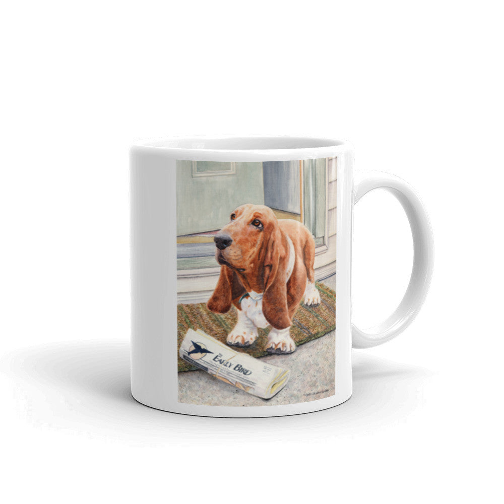 """Paper Boy"" Basset Hound 11oz Coffee Mug"