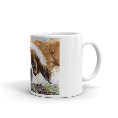 """Tulips"" Saint Bernard 11oz Coffee Mug"