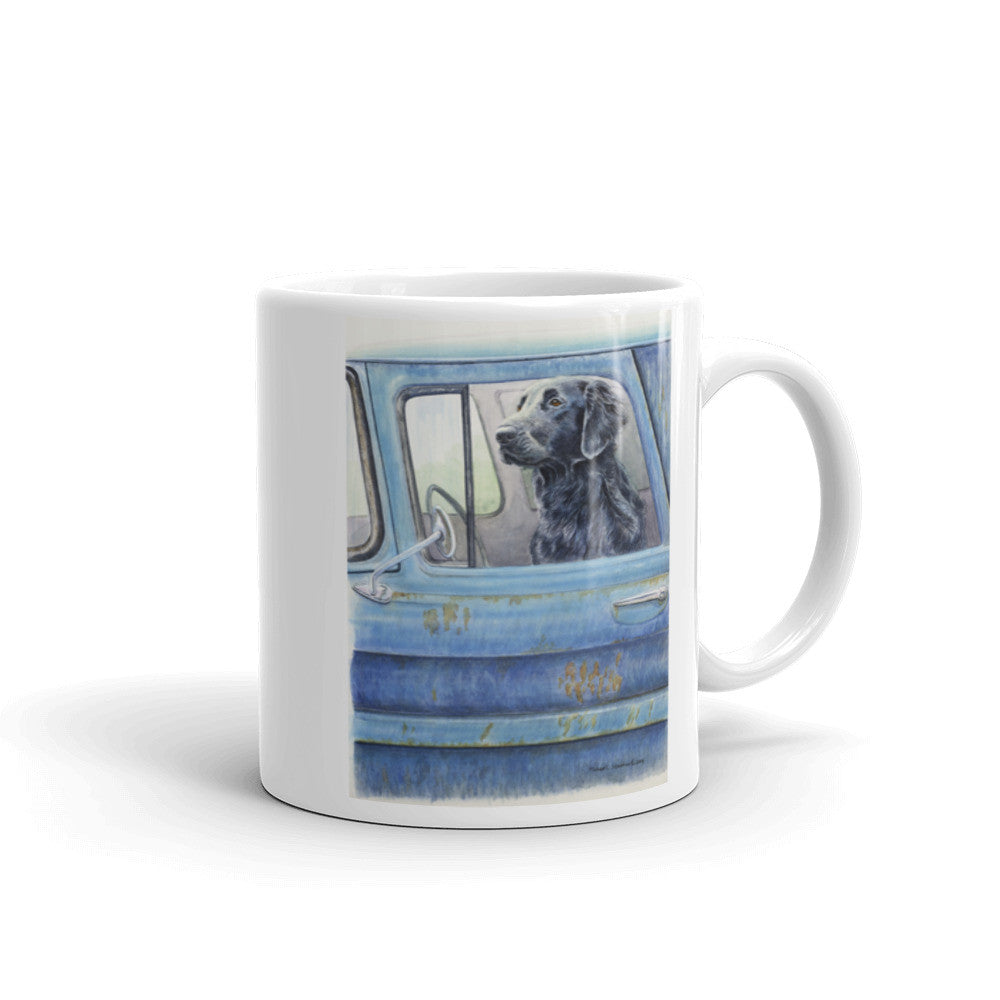 """Wait Here"" Flat Coated Retriever 11oz Coffee Mug"