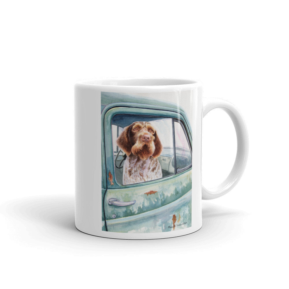 """Wait Here"" German Wirehaired Pointer 11oz Coffee Mug"