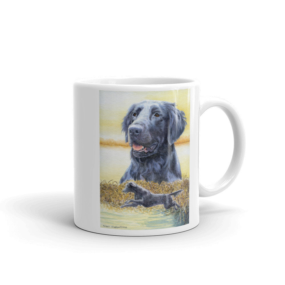 """Splash"" Flat Coated Retriever 11oz Coffee Mug"