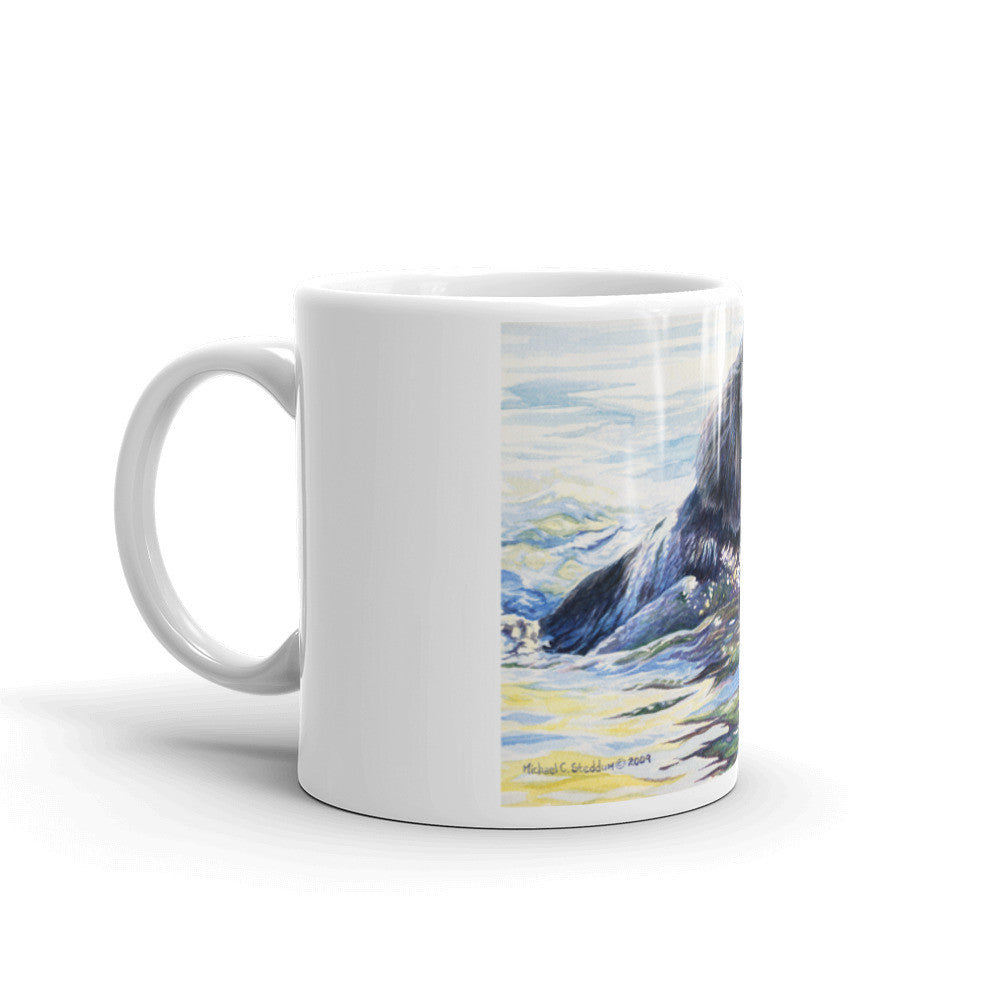 """Swim"" Flat Coated Retriever 11oz Coffee Mug"